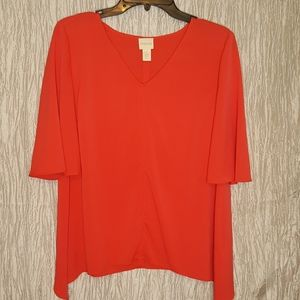 Chicos Size 1 Short Sleeve V-neck Blouse